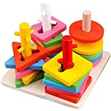 learn with fun- Wooden Educational Preschool Shape & Color Recognition Geometric Board Block Stack Shape Sorter Puzzle…