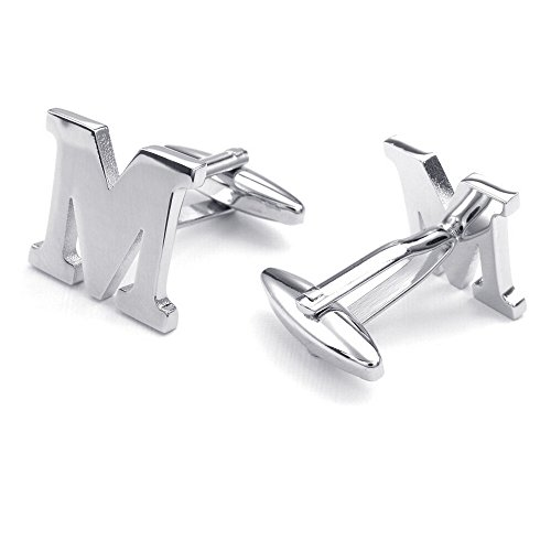 Honey Bear Mens Initial Alphabet Letter M Silver White Steel Wedding Formal Business Cufflinks