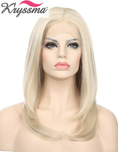 K'ryssma Mixed Color Short Light Blonde Wigs for White Women Soft Synthetic Hair Lace Front Wigs Half Hand Tied Heat Safe