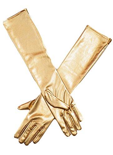 La vogue Damen Lange Handschuhe Metallic handschuhe (Gold Lange Metallic Handschuhe)