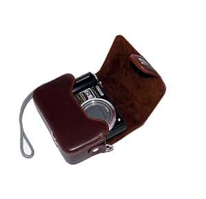 Hard PU Leather Case for Panasonic Lumix TZ57 TZ55 TZ40 SZ10, Canon SX600 SX610,S120, IXUS 285 275 180 175,NIkon A300 L31 Sony W800 Cameras(Brown)