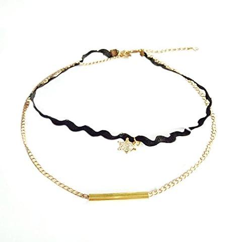 erthome Fashion Girl Handmade Gothic Fishing Line Triangle Sets Collar