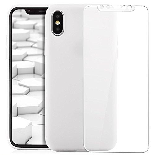 zanasta® iPhone X Hülle Case + 3D Panzerglas Silikon Soft Flex Schutzhülle Ultra-Slim Handyhülle Cover Matt Rosa Weiß