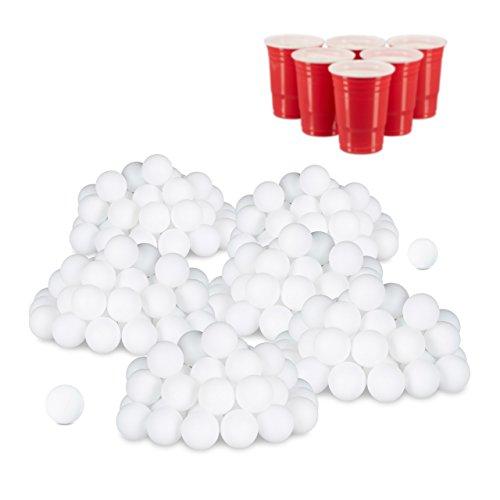 relaxdays 288er Set Beer Pong Bälle, ohne Aufdruck, Kunststoff, ohne Naht, Trinkspiel, Tischtennisbälle, 38 mm, weiß (Ping-pong-tisch Bier)