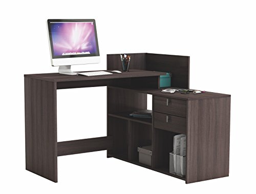 Abitti Escritorio Mesa de Estudio Ordenador 121cm. Color Roble Vulcano. para despacho, Ordenador, Dormitorio Juvenil