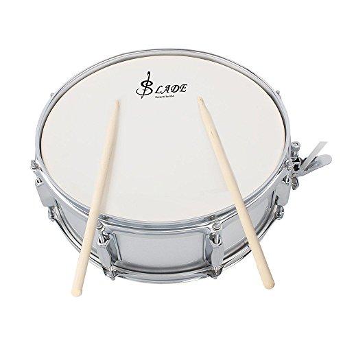 ammoon Profi Snare Drum Head, 35,6cm (14Zoll), mit Trommelstock, Schlagzeugschlüssel, Schulterriemen für die Schülerband silber