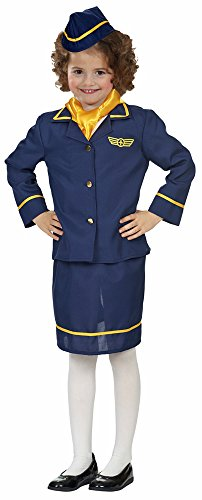 Stewardess Kostüm für Mädchen 4-tlg. - Gr. 116 (Kinder Für Stewardess-kostüm)