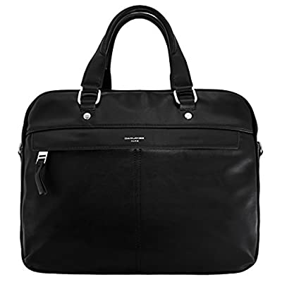 David Jones - Sac à Main Business Porte-Documents Homme - Style Cuir Véritable - Cartable Travail Sacoche Ordinateur Portable - Sac Serviette Affaires Professionnel - Noir
