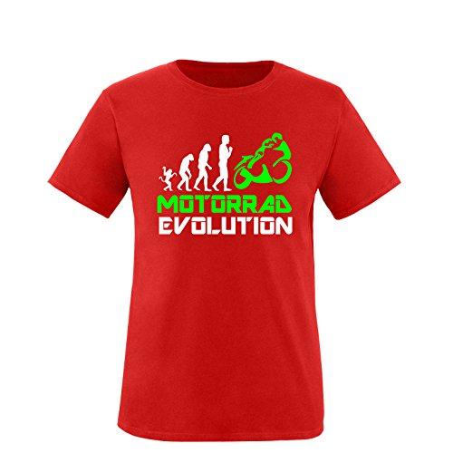 EZYshirt® Motorrad Evolution Herren Rundhals T-Shirt Rot/Weiss/Neongr