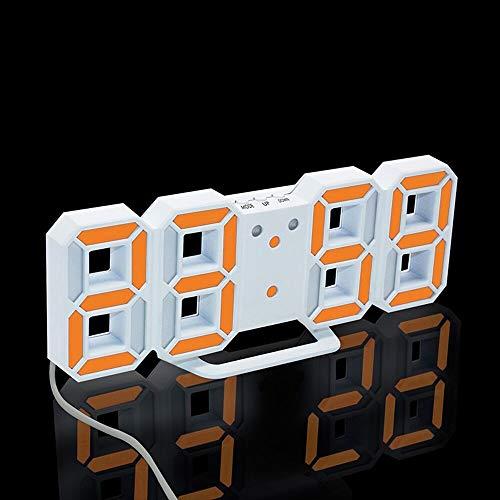 PXQOV 3D Led Digital Wecker Moderne Wanduhr Digital Uhren Display Uhr Mechanismus Alarm Snooze Schreibtisch Wecker Für Home Office Kinder Wh -