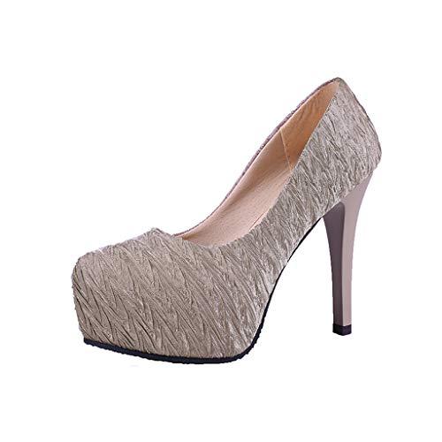 Yvelands Damen Schuhe einzeln auf EIN Wort Schnalle Stiefel der Art- und Weisefrauen wies Kopf-Absatz-einzelne (CN-37,Beige)