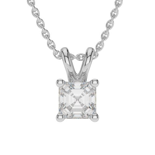 Or blanc/or/Rose/Jaune/Or/Platine-Collier Femme-diamant solitaire 0,15ct Forme Asscher agdnc-1001-vsgh
