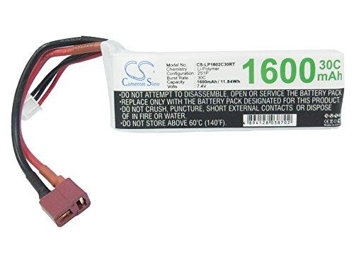 Cameron Sino RC Akku 7.4 V 1600mAh Wiederaufladbar Li-Polymer Ersatzakku mit T-Plug AWG16 Stecker