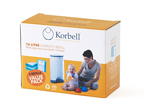 Korbell KB250DR3B Ricarica per Bidone, 3 Confezioni da 3 Pezzi, 16 L