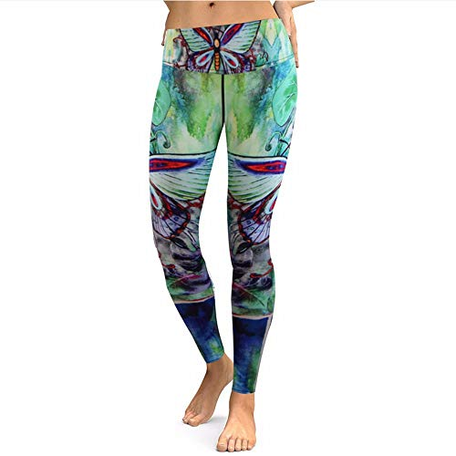 Ytdzsw 2018 Neue Frauen Yoga Hosen Grün Schmetterling Drucken Yoga Leggings Activewear Für Frauen Hoch Taillierte Sommer Outfits Fitness Legging-M