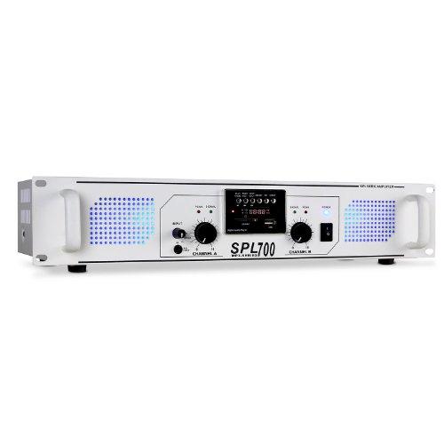 Skytec SPL-700 PA-Endstufen Karaoke Verstärker mit Radio (USB-SD, MP3, 2000W, AUX, LED, UKW-Tuner) weiß