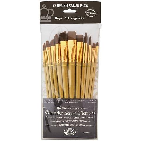 Royal and Langnickel RSET-9303 - Set di pennelli medi con morbide setole in Taklon, confezione da 12, nero - Langnickel Pennelli