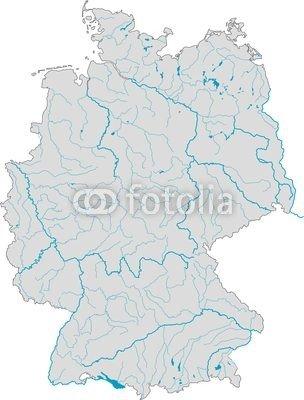 """Leinwand-Bild 40 x 50 cm: \""""Deutschlandkarte Flüsse und Seen\"""", Bild auf Leinwand"""
