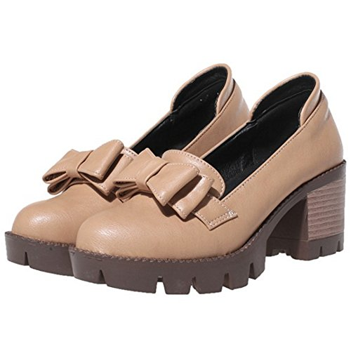 COOLCEPT Femmes Mode Slip On Court Chaussures Bout Ferme Escarpins Bloc Chaussures With Bowknot Kaki