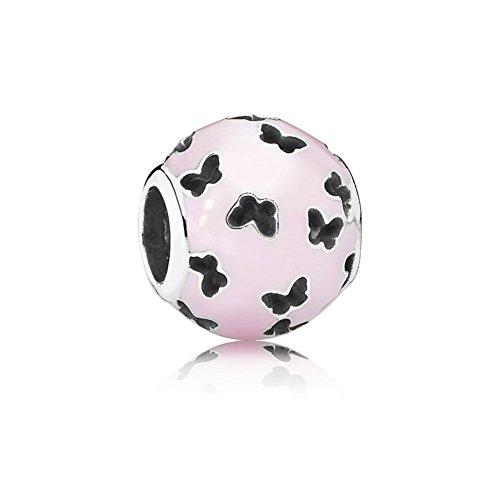 Pandora 791483EN68 Abstraktes Silber Charm Schmetterlinge rosa