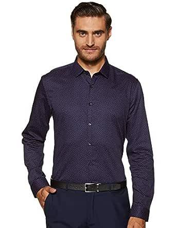 Max Men's Printed Slim Fit Formal Shirt (FCAWTPA18016_Blue S)