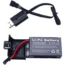 YUNIQUE ESPAGNE® 1 Pieza 3.7V 1000mAh batería del Li-Po con la caja de batería y la línea del cargador del USB 1pcs para Udi U818S U842 WiFi FPV U842-1 LarkFPV RC Quadcopter Drone Repuestos