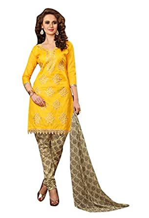 Oomph! Women's Synthetic Dress Material (rbad_bul009_Sunflower Yellow_Free Size)