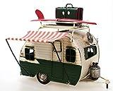 Wohnwagen aus Metall grün mit Rahmen und Spardose Camper Auto Oldtimer Nostalgie