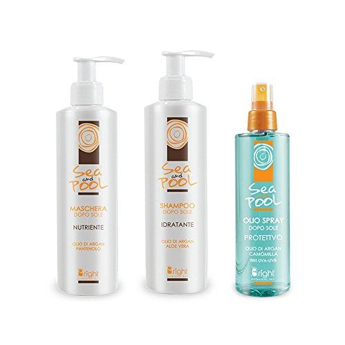 Kit solare shampoo + maschera + olio spray sea and pool bright + pareo omaggio