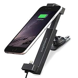 Sinjimoru support d'iPhone pour la voiture. Ajustable, avec câble Lightning pour une charge rapide. Kit Sinji de base pour iPhone.