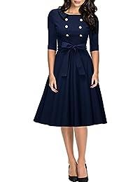 Miusol® Damen Elegant Abendkleid Rundhals 3/4 Ärmel Cocktailkleid Retro Einreihig Rockabilly 1950er Jahre Party Kleid Navy Blau Gr.S-XXL