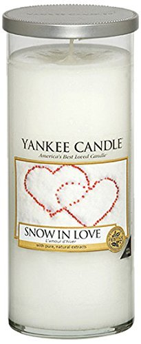 YANKEE CANDLE Pillar Candele Décor Snow in Love, Bianco, 8.2x8.3x19.3 cm
