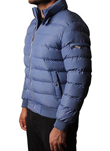Mens rembourrée Bubble Quilted Doudoune doublé Manteau d'hiver Bleu