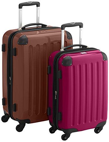HAUPTSTADTKOFFER - Alex - 2er Koffer-Set Hartschale glänzend, TSA, 65 cm + 55 cm, 74 Liter + 42 Liter, Orange-Aubergine Braun-Magenta