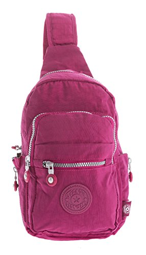 Big Handbag Shop , Damen Rucksackhandtasche Backpack Style 4 - Hot Pink