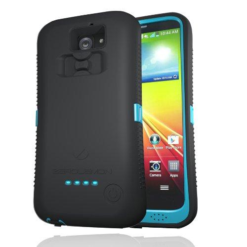Zerolemon Schutzhülle für Zerolemon LG G2, robust, inkl. Displayschutzfolie, Standfunktion, Schwarz/Himmelblau (Handy-hülle Für Verizon Lg G2)