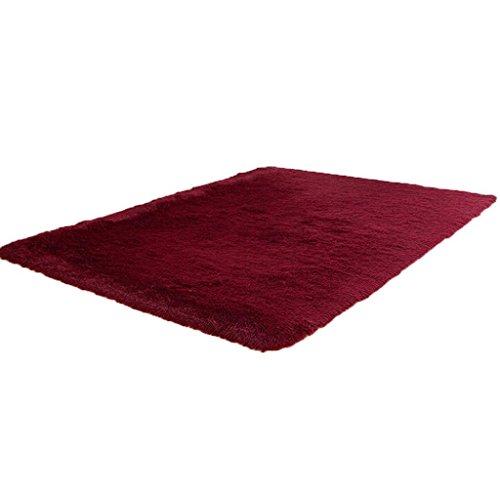 120cm*80cm Alfombra de piso grande, Holacha Alfombra Antideslizante Rectángulo para Sala, Comedor, Cuarto (vino rojo)