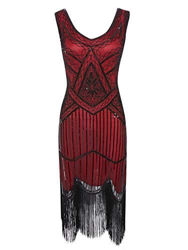 Viloree 1920 Pailletten verschönert Quasten Falten Flapper Damen Mini Kleid Party Gastby Motto Burgunder Schwarz M