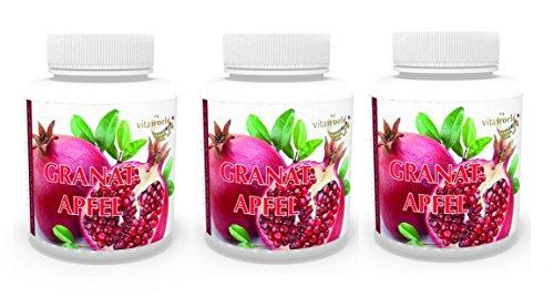 3er Pack Vita World Granatapfel Extrakt 300mg 300 Kapseln 40 % Ellagsäure Apotheken Herstellung