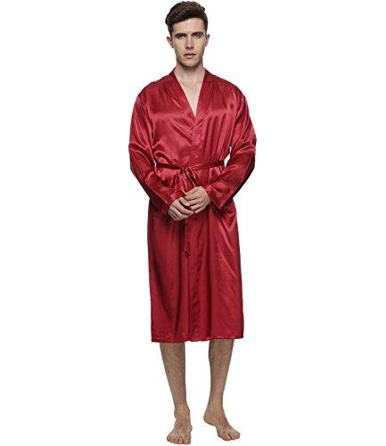 Herren Satin Kimono Robe Morgenmantel Lange Bademantel (Solide Kimono)