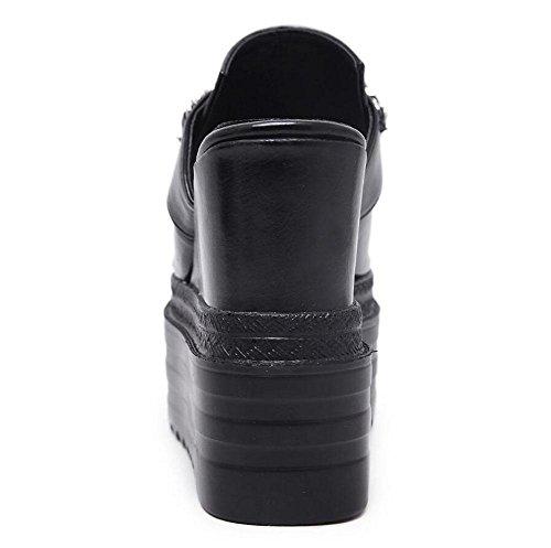 GLTER Sandales à lacets en cuir à la mode Chaussons à talon en forme de T Pull Bottom Chaussures à talons hauts Chaussures Pompes Blanc Noir Black