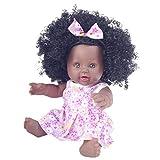 VNEIRW Afrikanische Puppe Babypuppen Schwarze mit Lockiges Haar, Lebensecht Puppe Reborn Waschbar Babypuppe Vinyl Realistische Baby Puppe, 30 cm (Rosa)