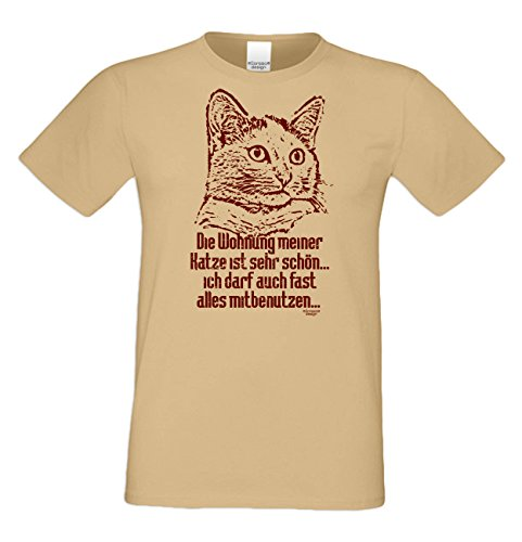 Geschenk für Katzenfreunde :-: T-Shirt mit Katzen Motiv :-: Die Wohnung meiner Katze :-: Geschenkidee für Tierfreunde zum Geburtstag Vatertag Weihnachten :-: Farbe: sand Sand