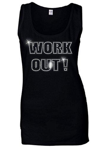 Gilet da donna work out–cristallo STRASS design–Keep Fit–esercizio palestra–(dimensioni da 8a 16) Black