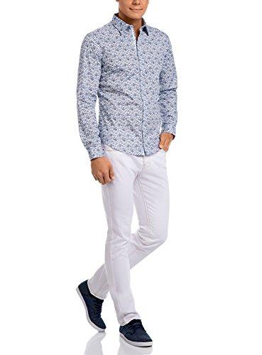 oodji Ultra Herren Hemd mit Paisley-Muster Weiß (1029E)