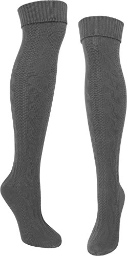 normani normani Lange Trachtensocken/Trachtenstrümpfe für Lederhosen Kniebund Natursocken Farbe 1 Paar Anthrazit Größe 35/38