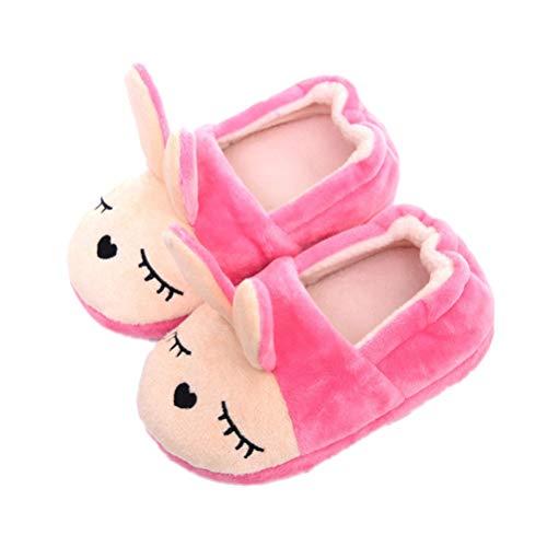 Amosfun Nette Baumwolle Winter Home Hausschuhe Cartoon Bunny Rabbit Hausschuhe Rutschfeste Kinder Mädchen Schuhe weiche Slipper - Rose Red 17/18