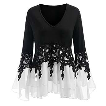 HGWXX7 Women's V Neck Long Sleeve Chiffon Blouse Shirt Tops X-Large Black