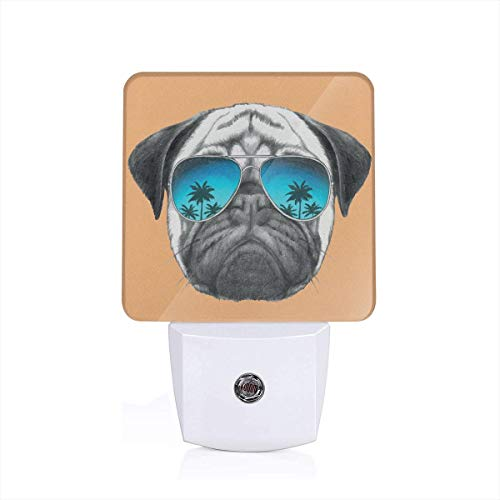 Dog With Reflecting Aviators Palm Trees Tropical Environment Cool Pet Animal Plug-in LED Night Light Lamp with Dusk to Dawn Sensor, Night Home Decor Bed Lamp