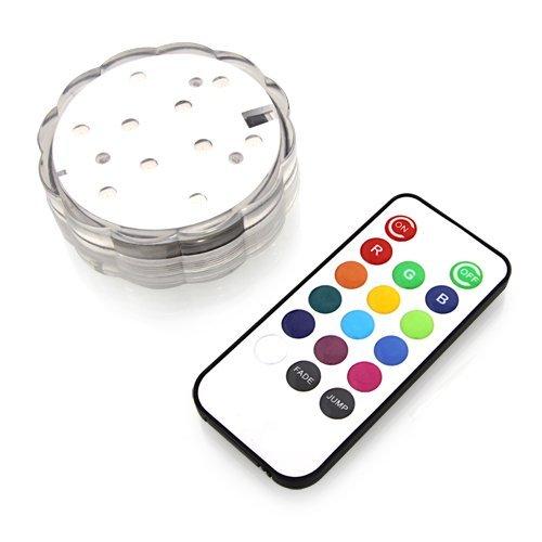 Wollpo® LED Unterwasserlicht Unterwasserbeleuchtung Unterwasserlicht Unterwasser Strahler Teichbeleuchtung Unterwasserleuchte Tauchlampe mit Fernbedingungen - Bunt und Wasserdicht 7 x 7 x 6.4 cm
